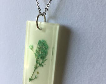 Rectangular Resin Necklace with Teal Baby's Breath