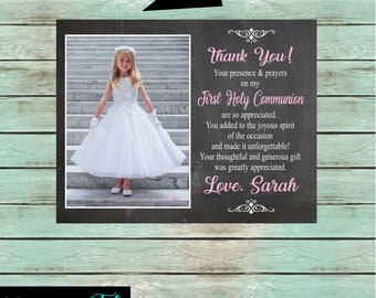 First Holy Communion with Your Photo Religious ~Any Color Font ~ Party Thank You Note Cards Personalized Custom ~ We Print and Mail to You
