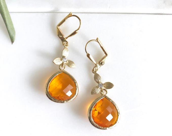 Orange Flower Drop Earrings. Orange Gold Dangle Earrings. Bridesmaids Earrings. Jewelry Gift. Holiday Jewelry. Christmas Gift. Fall Fashion.
