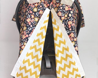 Floral Car Seat Cover - Car Seat Canopy - Baby Carseat Covers - Infant Carrier Cover - Baby Girl Gift - Baby Accessories - Baby Car seat