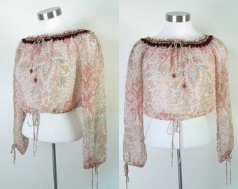 1980s Sheer Silk Paisley Top Boho Renaissance Cropped With Bishop Sleeve Off Shoulder