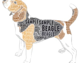 Beagle art print Beagle dog colour unique personalised word art print A4 8.3 x 11.7 INCHES