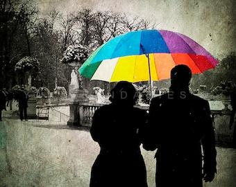 Winter Print, Paris Print, Paris Decor, Paris Art, rainbow umbrella, umbrella print, Winter garden, colorful umbrella, Paris photography