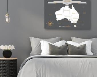 Australia Travel Map, Australian Map, Australia Push Pin Map, Modern Australia Canvas Map, Map of Australia // H-I28-1PS AA4 REG1 06P