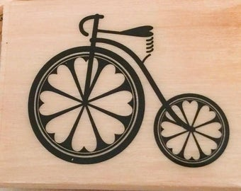 VINTAGE BICYCLE Stamp Retro Bike Heart Shape Wheels Wood Mounted Rubber Invitations Cards Scrapbooking Craft crafts Valentine Wedding Love