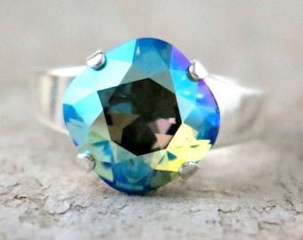 Shimmering Erinite   Swarovski Ring   Swarovski Crystal   Cushion Cut   Square Ring   Wedding Jewelry   Beach Jewelry   Gift Idea   Rainbow