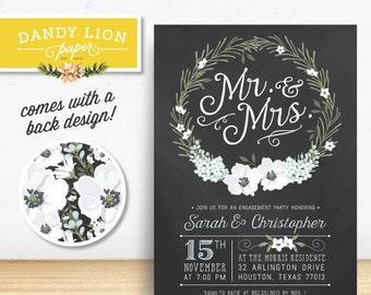 Chalkboard Wreath Engagement Party Digital Invitation - DIY Printable