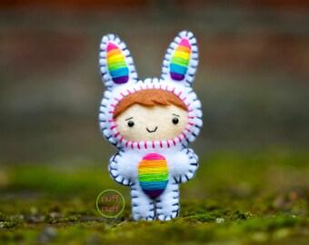 Felt Rainbow Bunny - Pocket Plush toy