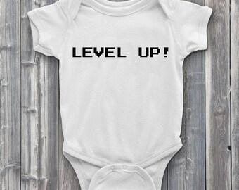 Level up onesie, gamer onesies, onsies, level up, video games, baby onesies, baby shower gifts, baby
