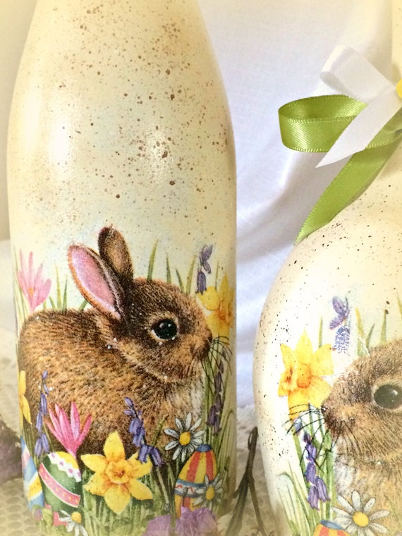 Easter Bunny Decor, Easter Candles, Wine Bottle, Decoupage, Painted Wine  Glass Candle Holder, Spring Home Decor, Hostess Gift, 2 Piece Set.