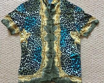 Vintage Mondi animal print button-down blouse