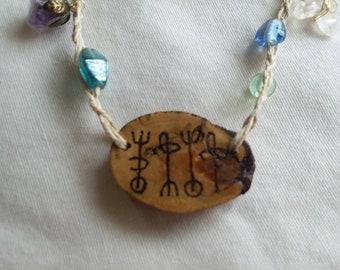 Draumstafir, driftwood, amythest, quartz crystal, handmade