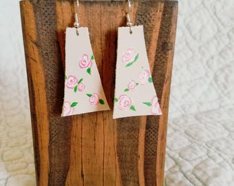 Stop and Smell the Roses - Hand Painted Leather Earrings