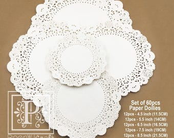 Set of 60pcs Paper Doilies 5 Sizes,  French Lace Paper Doilies , Wedding Doilies, Decorations Papers, Circle Paper Doilies