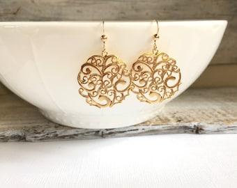 Gold Round Filigree Earring, Spanish Style Earrings, Moroccan Earrings, Bohemian Earrings, Everyday Earrings, Silver Earrings