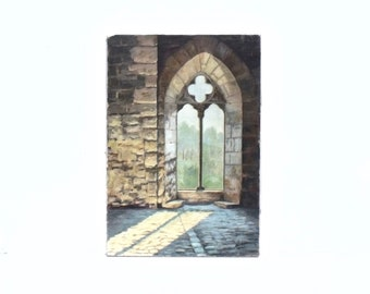 French vintage oil painting interior window stone work light and shadow signed unframed on canvas Chapel Chateau