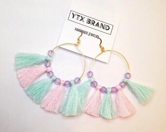 Tassel Hoop Earrings, Tassel Chandelier Earrings, Spring Jewelry, Gold