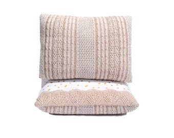 Throw Pillows - Upcycled - Couch Pillows - Chair Pillows - Unusual - Whimsical Decor - Shabby Chic Pillows - Cottage Chic Decor - Beige