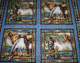 Horse Fabric Point of View Pillow Panel Fabric Sold by the Panel 100% Cotton