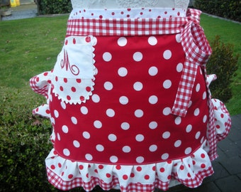 Monogrammed Aprons - Annies Attic Aprons - Womens Half Aprons - I Love Lucy Apron - Red Dotted Apron - Handmade Apron