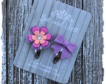 READY TO SHIP, Lavender Pink Peach Wool Felt Flower Mini Bow Clip Set, Baby Clips, Infant Girls Adult Mini Snap Clips