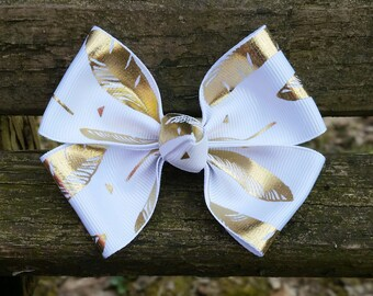 White with Gold Feather Hair Bow (3.5 inch)