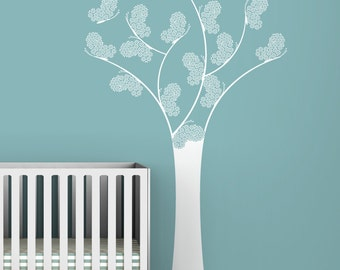 Kids wall decal white tree butterfly chic classic wall decal for modern baby rooms - Black Label Butterfly Tree