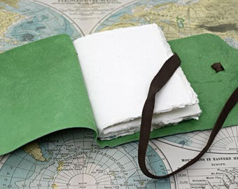 Minimalist Simple Leather Travel Journal with Handmade Cotton Rag Paper