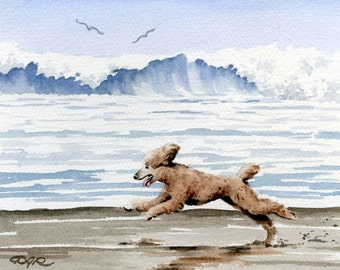 "Poodle Art Print ""Brown POODLE At The BEACH"" Signed by Artist DJ Rogers"