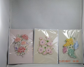 3-D Floral Birthday Card - 3 cards