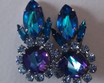Vintage Blue Purple Lavander Clip On Earrings Made in Austria