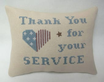 Thank You For Your Service Patriotic Cross Stitch Mini Pillow Military Thank You