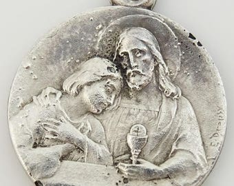 Vintage First Communion Medal by Artist Emile Dropsy