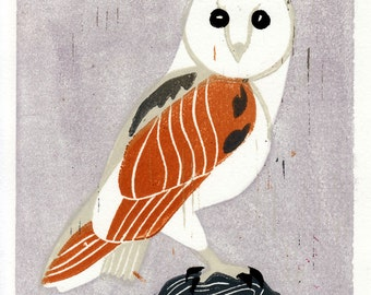 BARN OWL - Original Hand-Pulled Linocut Art Illustration Block Print 5 x 7, Mustard, Lavender, Lilac, Grey, Nature, Wall Decor