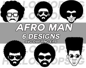 afro svg,afro man svg, afro boy, funky boy, afro hairstyle, afro hair, cut files, png, iron on, vinyl cutting, stencil template, silhouette
