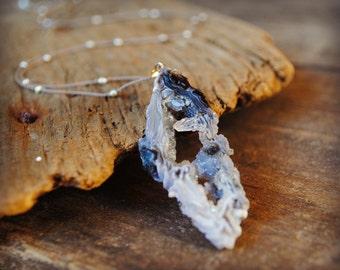 Long Geode Slice Necklace, Natural Stone, Crystal Quartz
