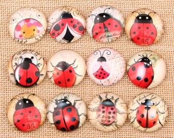 set of 12 cabochon ladybirds 14 mm