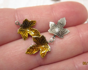 13x12mm, Golden Brown, Enameled (Silver-Plated Brass) Maple Leaf Charms - Available in 6, 10 & 20 Charm Pkgs and also in Larger Pkgs
