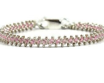 Pink and Silver Bracelet - Beaded Chain Bracelet - Minimalist Jewelry - Karen Hill Tribe Silver Bracelet - Beadwork Jewelry