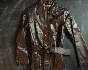 Vintage California chocolate brown leather wrap jacket