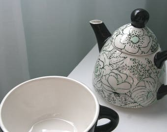 Hand Painted Ceramic Black, White, and Seafoam Floral Tea Party for One