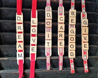 Christmas ornaments, Stocking stuffers, Inspirational words, Christmas tree embellisments, wooden scrabble letters