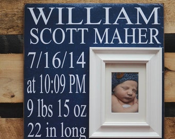 Personalized Baby Frame, Custom Birth Stat Sign, Birth Announcement Picture Frame, Birth Stat Sign 16x16