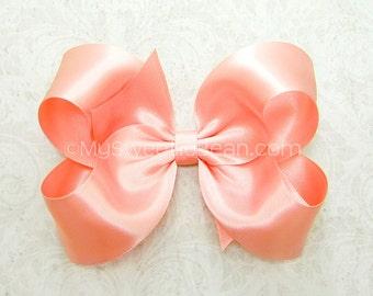 Coral Satin Bow, Satin Hair Bow in 58 colors, 4 inch Hair Bow for Flower Girls, Bridesmaids, Weddings, Special Occasions