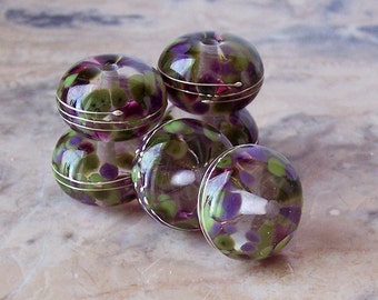 Handmade Lampwork Glass Beads Wrapped in Fine Silver Wire  (2 pcs) Green Purple 15-16 mm x 9-10 mm. Organic Lampwork Bead Set.