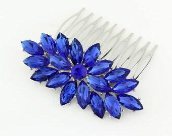 Blue Bridal Hair Comb, Royal Blue Wedding Hairpiece, Something Blue Bridal Hair Accessory, Sapphire Blue Rhinestone Hair Clip, Blue Comb