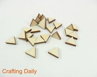 """Triangle Stud Earring Wood Shapes Equilateral 1/2"""" x 1/2"""" x 1/8"""" Laser Cut Wood Jewelry Blanks - 25 Pieces"""