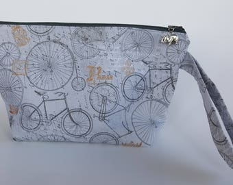 Bicycles Zippered Knitting Project Bag