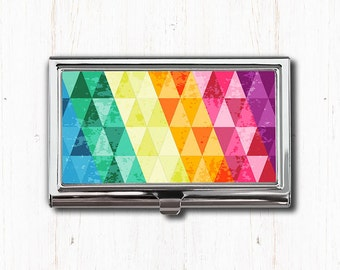 Colorful Triangles Print Business Card Case, Business Card Holder, Card Case, Card Holder, Triangle Art, Triangle Print, Geometric, Abstract