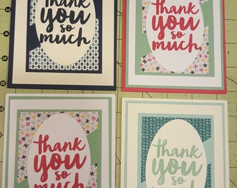"Set of 4 ""thank you"" cards"